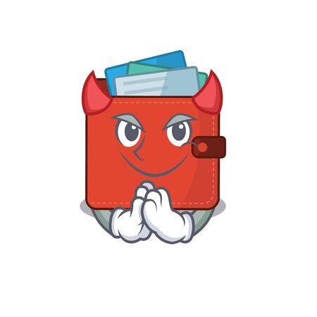 Card wallet clothed as devil cartoon character design concept. Vector illustration Vectores