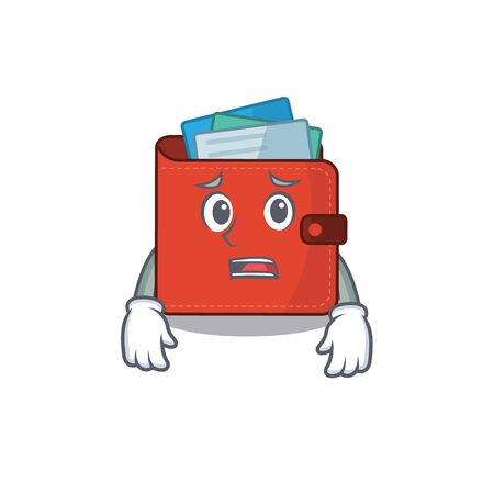 Cartoon design style of card wallet having worried face. Vector illustration Vectores