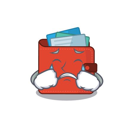 Caricature design of card wallet having a sad face. Vector illustration Vectores