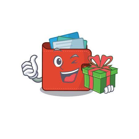 joyful card wallet cartoon character with a big gift box. Vector illustration