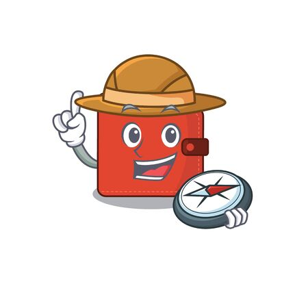 mascot design concept of card wallet explorer using a compass in the forest. Vector illustration