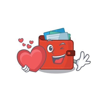 A sweet card wallet cartoon character style holding a big heart. Vector illustration