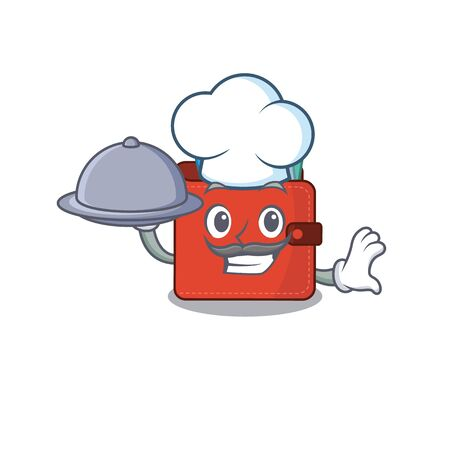 mascot design of card wallet chef serving food on tray. Vector illustration Vectores