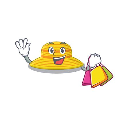 wealthy summer hat cartoon character with shopping bags. Vector illustration