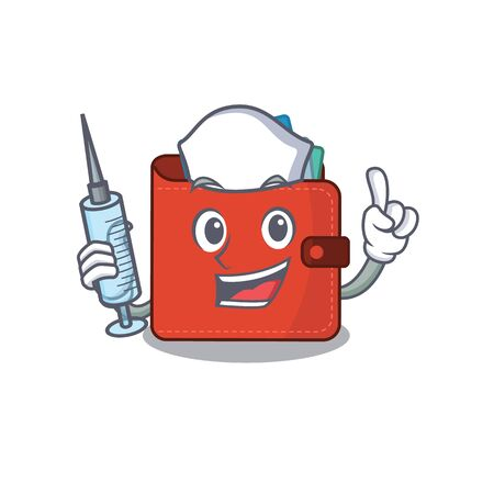 Card wallet humble nurse mascot design with a syringe. Vector illustration