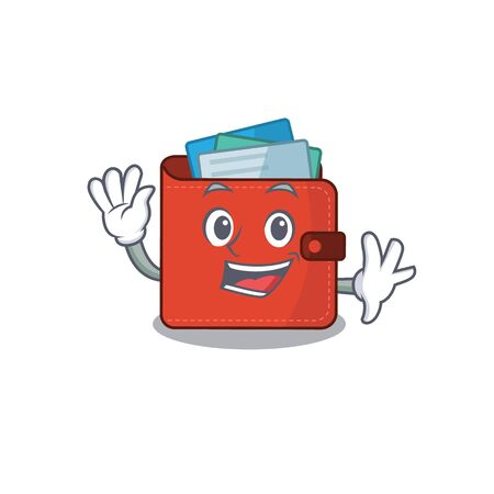 A charming card wallet mascot design style smiling and waving hand. Vector illustration Illustration