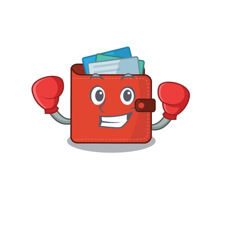 Mascot design of card wallet as a sporty boxing athlete. Vector illustration