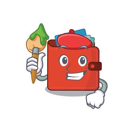 An artistic card wallet artist mascot design paint using a brush. Vector illustration