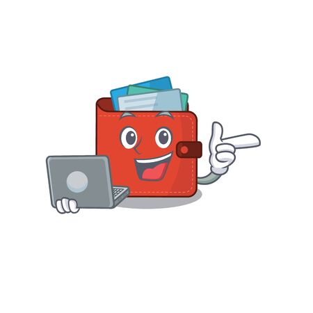 Smart cartoon character of card wallet studying at home with a laptop. Vector illustration