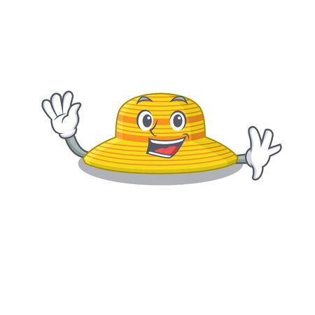 A charming summer hat mascot design style smiling and waving hand. Vector illustration