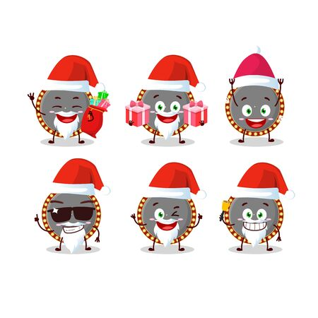Santa Claus emoticons with neon billboard cartoon character.Vector illustration
