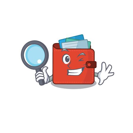 cartoon picture of card wallet Detective using tools. Vector illustration