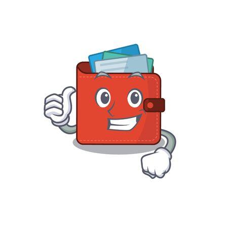 Card wallet cartoon character design showing OK finger. Vector illustration Ilustração Vetorial