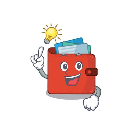 Mascot character of smart card wallet has an idea gesture. Vector illustration Vectores