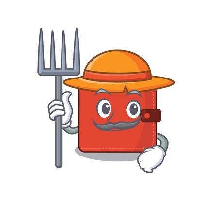 Card wallet mascot design working as a Farmer wearing a hat. Vector illustration