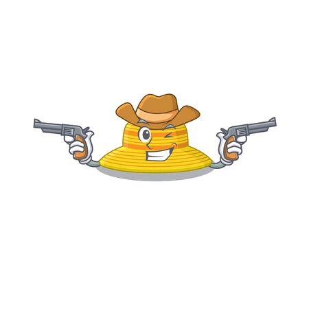 Cartoon character cowboy of summer hat with guns. Vector illustration