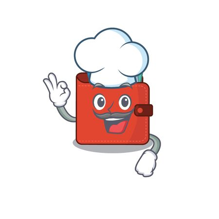 Talented card wallet chef cartoon drawing wearing chef hat. Vector illustration
