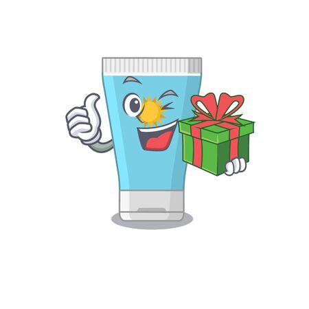 joyful sunblock cream cartoon character with a big gift box. Vector illustration Illustration