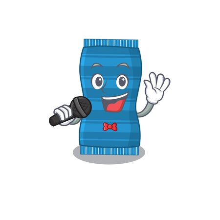 cartoon character of beach towel sing a song with a microphone. Vector illustration