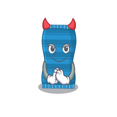 Beach towel clothed as devil cartoon character design concept. Vector illustration