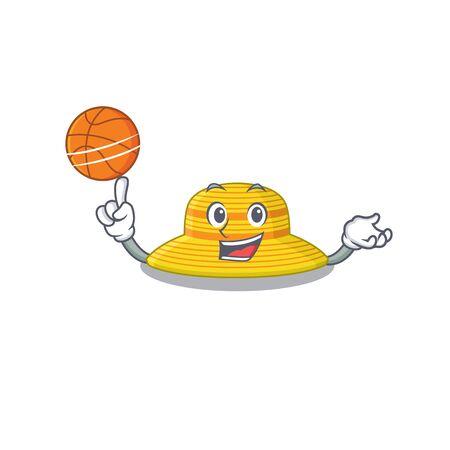 Sporty cartoon mascot design of summer hat with basketball. Vector illustration Illustration