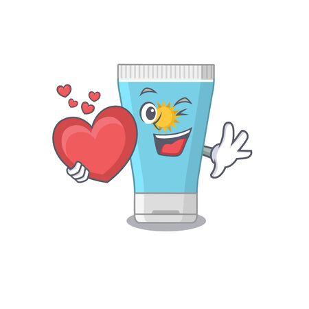 A sweet sunblock cream cartoon character style holding a big heart. Vector illustration