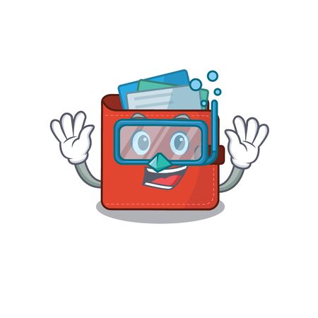 Card wallet mascot design swims with diving glasses. Vector illustration Vectores