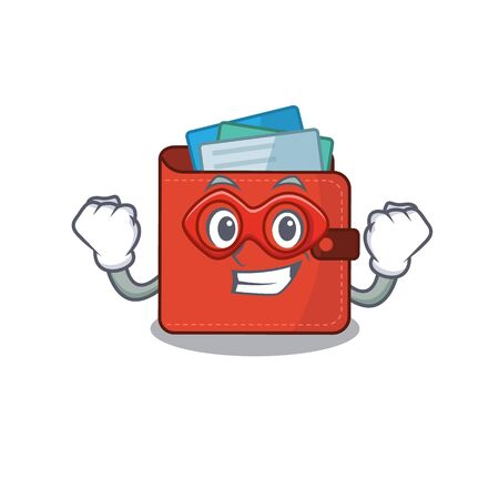 A cartoon drawing of card wallet in a Super hero character. Vector illustration