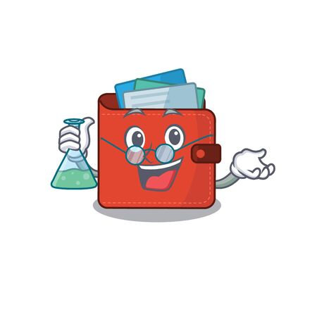 caricature character of card wallet smart Professor working on a lab. Vector illustration
