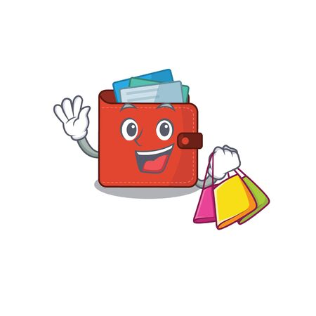 wealthy card wallet cartoon character with shopping bags. Vector illustration