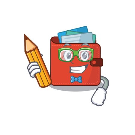 A clever student card wallet cartoon character study at home. Vector illustration