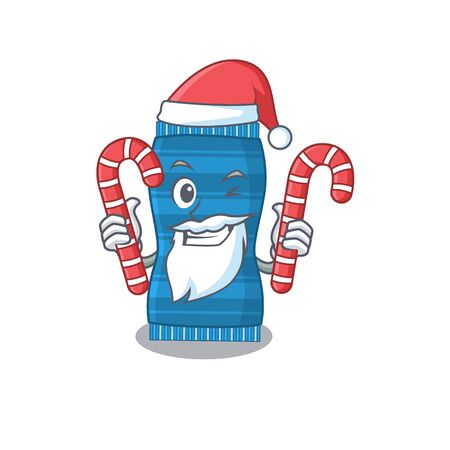 Friendly beach towel dressed in Santa Cartoon character with Christmas candies. Vector illustration
