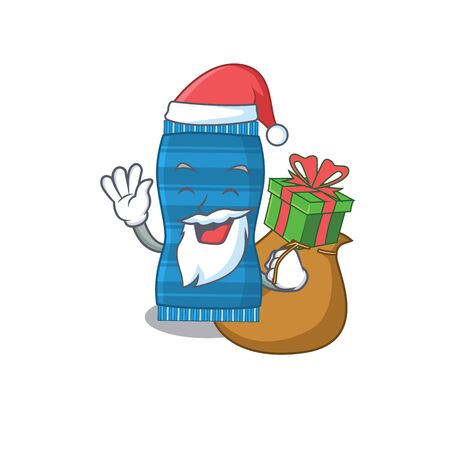 Cartoon design of beach towel Santa having Christmas gift. Vector illustration