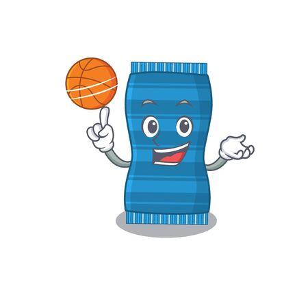 Sporty cartoon mascot design of beach towel with basketball. Vector illustration