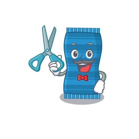 Beach towel cartoon character design as talented barber. Vector illustration