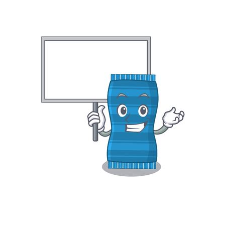 Cartoon picture of beach towel mascot design style carries a board. Vector illustration Иллюстрация