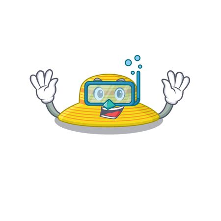 Summer hat mascot design swims with diving glasses. Vector illustration