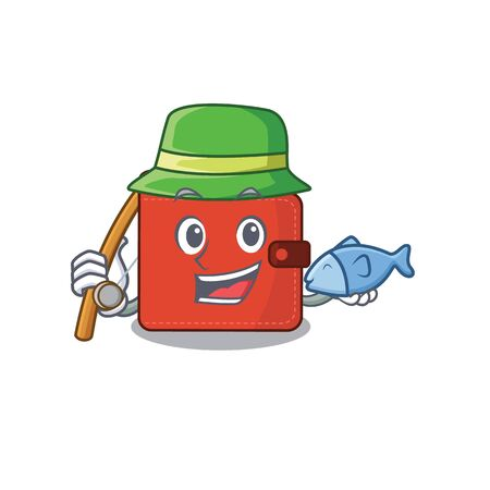 Cartoon design style of card wallet goes to fishing. Vector illustration