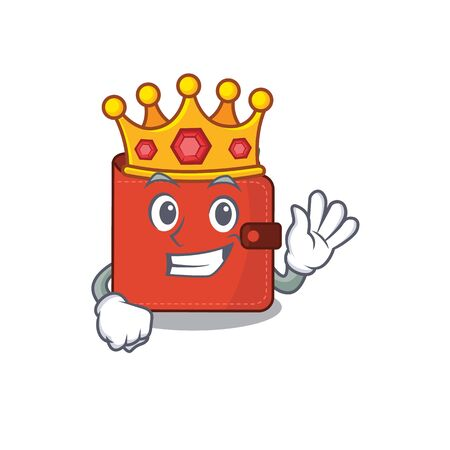 A Wise King of card wallet mascot design style with gold crown. Vector illustration Vectores