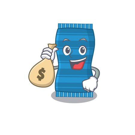 Crazy rich beach towel mascot design having money bags. Vector illustration