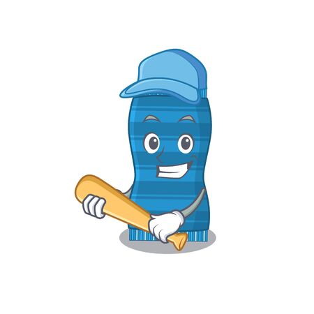 Attractive beach towel caricature character playing baseball. Vector illustration Ilustracja