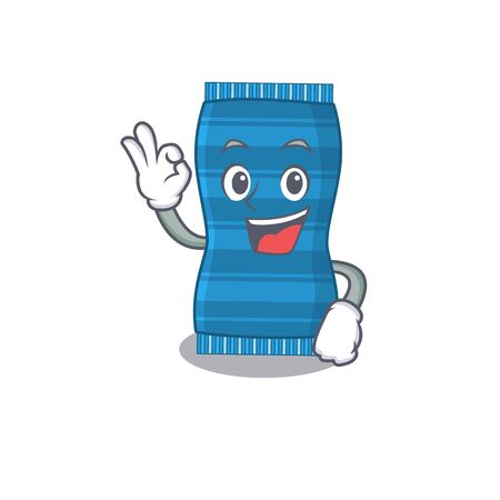 Beach towel mascot design style showing Okay gesture finger. Vector illustration