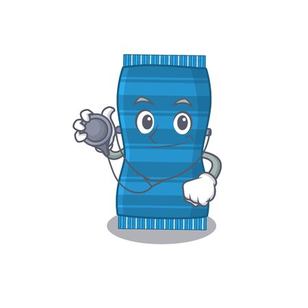 Smiley doctor cartoon character of beach towel with tools. Vector illustration