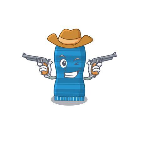 Cartoon character cowboy of beach towel with guns. Vector illustration Ilustracja
