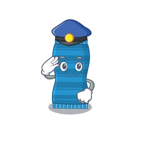 Police officer cartoon drawing of beach towel wearing a blue hat. Vector illustration