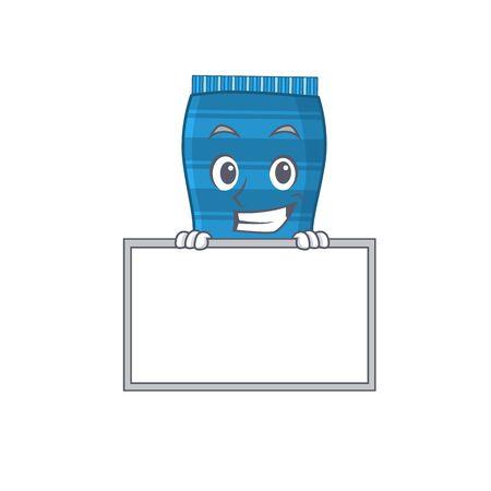 Beach towel cartoon design style standing behind a board. Vector illustration Иллюстрация
