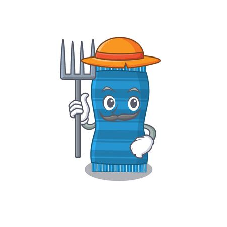 Beach towel mascot design working as a Farmer wearing a hat. Vector illustration