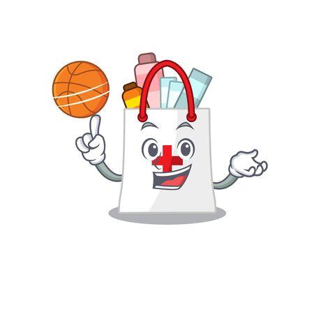 Sporty cartoon mascot design of drug shopping bag with basketball. Vector illustration Illustration