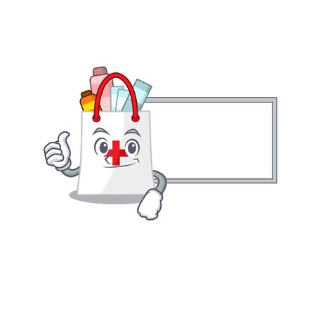 drug shopping bag cartoon design with Thumbs up finger bring a white board. Vector illustration