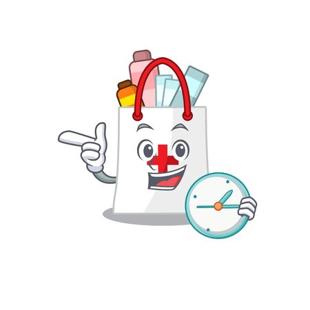 mascot design style of drug shopping bag standing with holding a clock. Vector illustration 向量圖像
